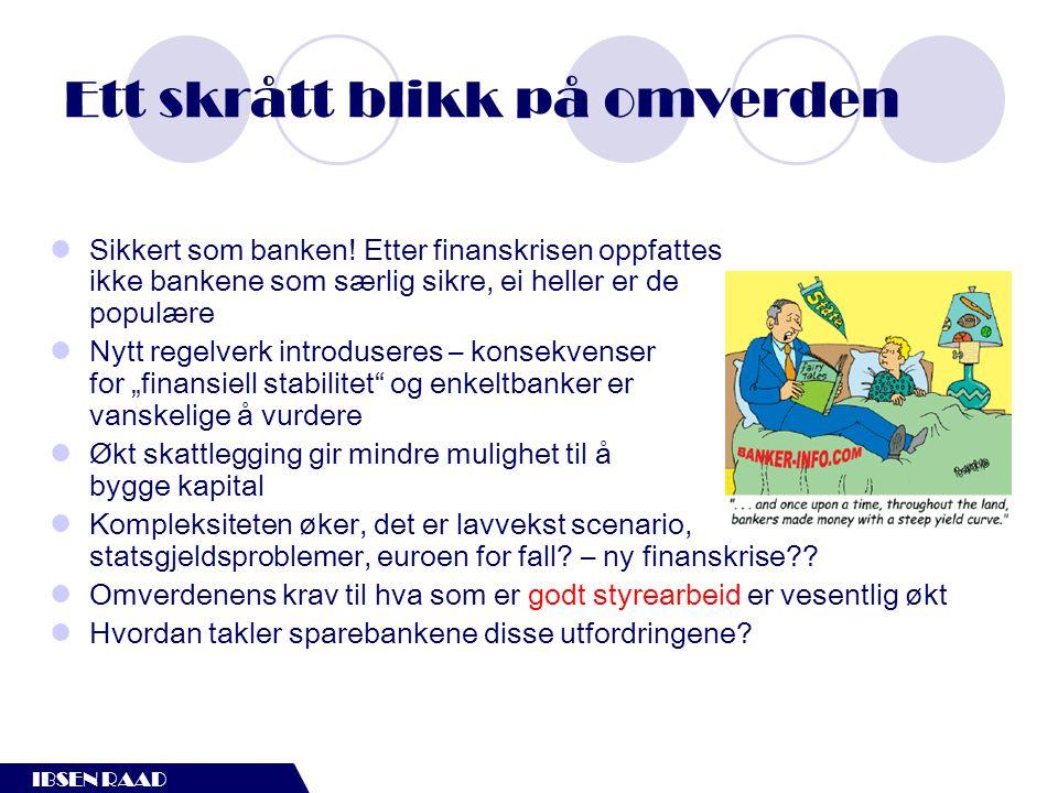 IBSEN RAAD Rolleforståelse  Sparebankene er selveiende, men mange har egenkapitalbeviseiere  Så hvordan fungerer da corporate governance i sparebanker.