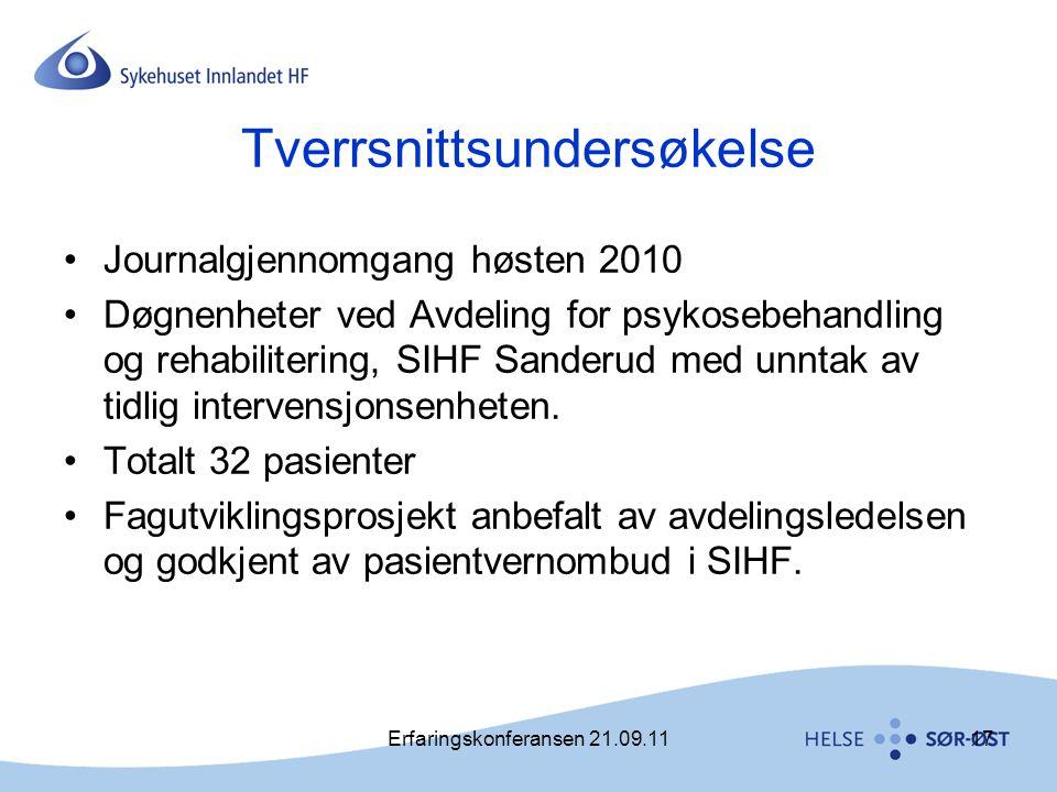 Erfaringskonferansen 21.09.1117 Tverrsnittsundersøkelse •Journalgjennomgang høsten 2010 •Døgnenheter ved Avdeling for psykosebehandling og rehabiliter