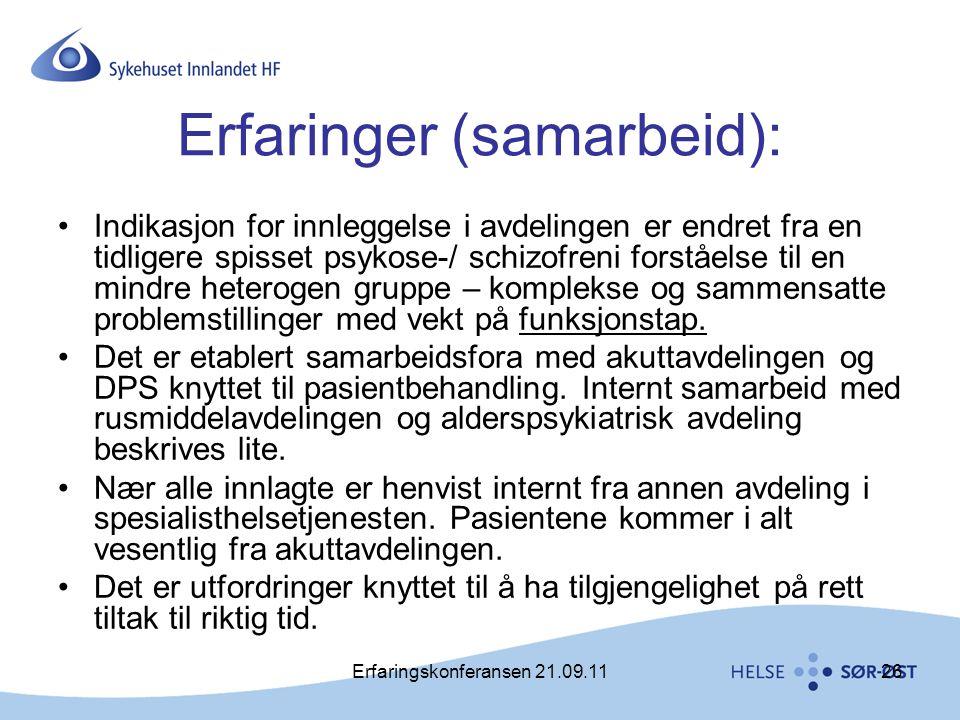 Erfaringskonferansen 21.09.1126 Erfaringer (samarbeid): •Indikasjon for innleggelse i avdelingen er endret fra en tidligere spisset psykose-/ schizofr