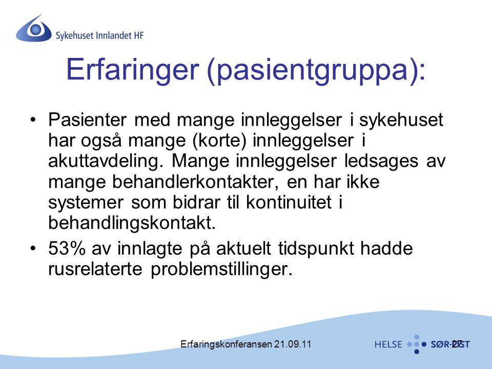 Erfaringskonferansen 21.09.1127 Erfaringer (pasientgruppa): •Pasienter med mange innleggelser i sykehuset har også mange (korte) innleggelser i akutta