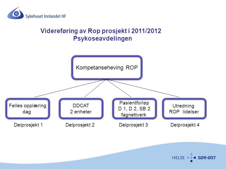 Kompetanseheving ROP Felles opplæring dag DDCAT 2 enheter Pasientforløp D 1, D 2, SB 2 fagnettverk Utredning ROP lidelser Delprosjekt 1Delprosjekt 2De