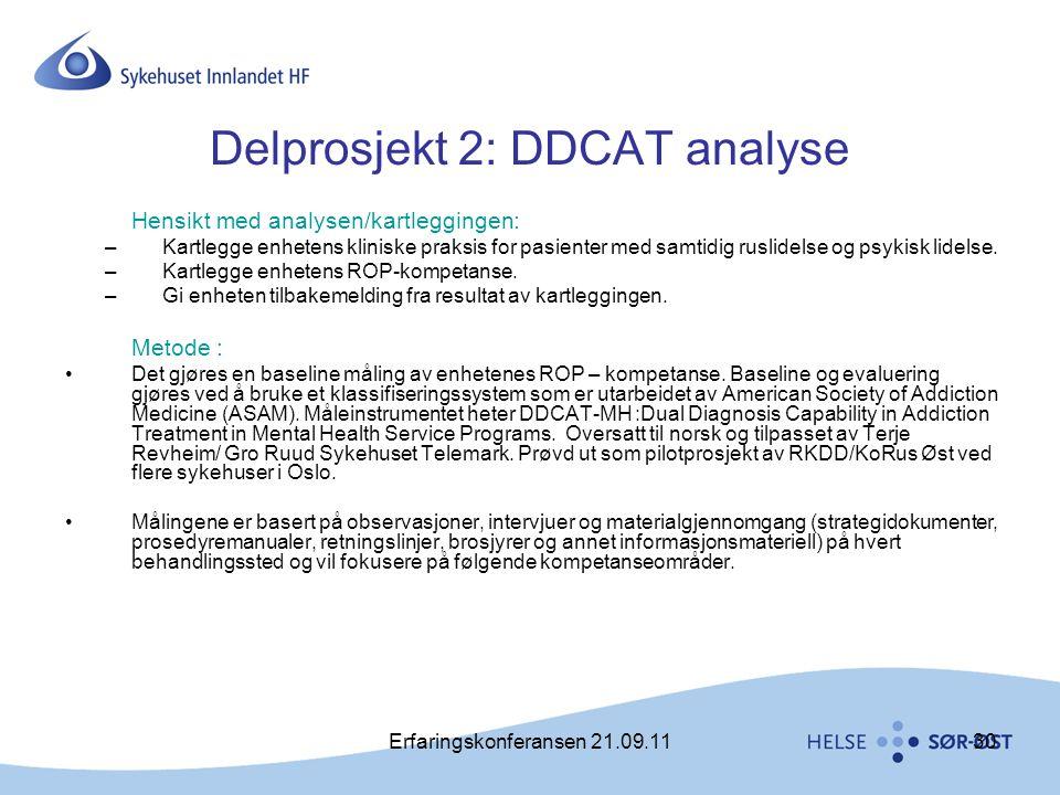 Erfaringskonferansen 21.09.1130 Delprosjekt 2: DDCAT analyse Hensikt med analysen/kartleggingen: –Kartlegge enhetens kliniske praksis for pasienter me