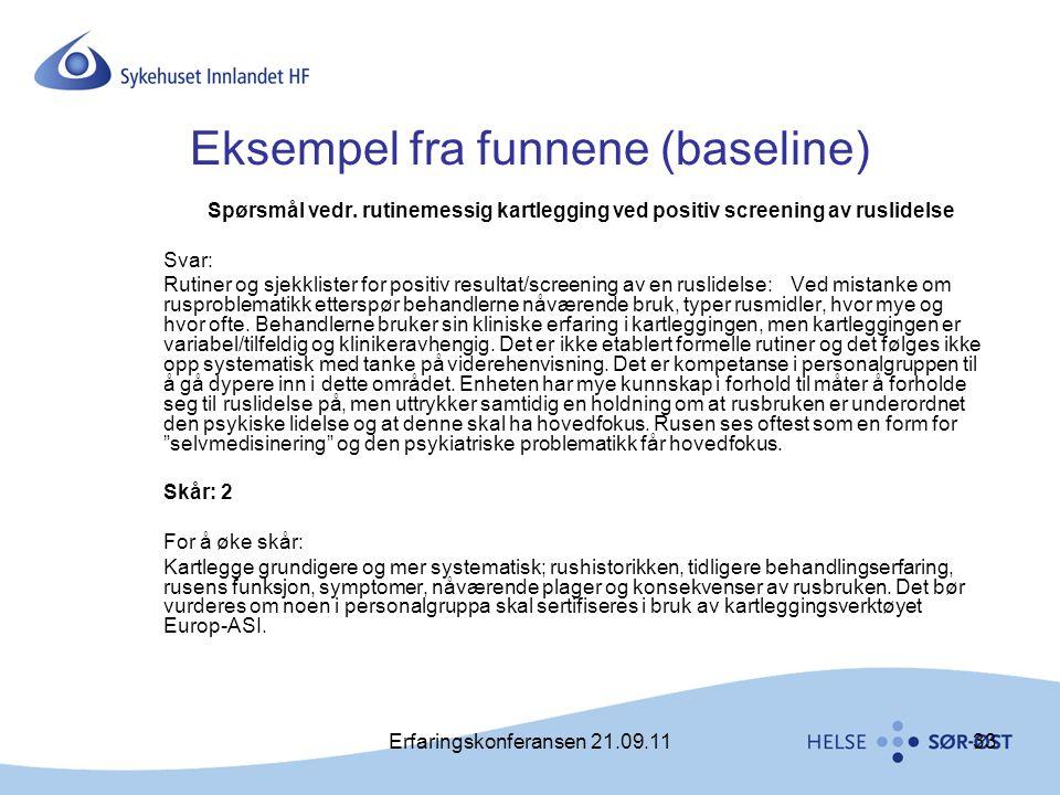 Erfaringskonferansen 21.09.1133 Eksempel fra funnene (baseline) Spørsmål vedr. rutinemessig kartlegging ved positiv screening av ruslidelse Svar: Ruti