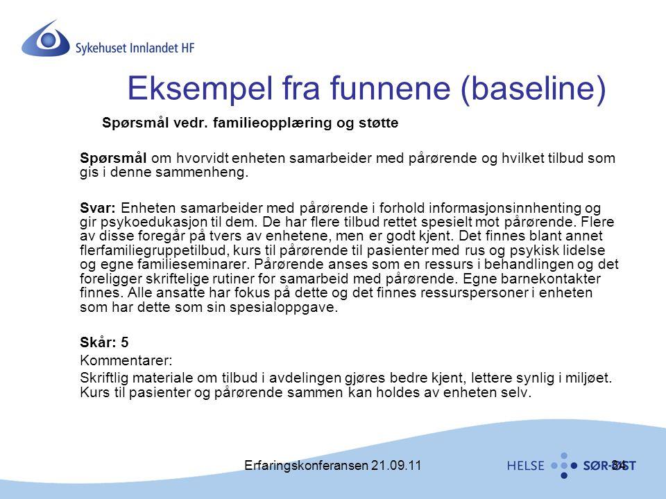 Erfaringskonferansen 21.09.1134 Eksempel fra funnene (baseline) Spørsmål vedr. familieopplæring og støtte Spørsmål om hvorvidt enheten samarbeider med