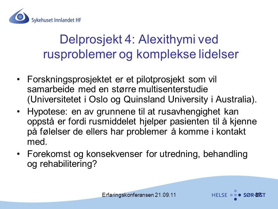 Erfaringskonferansen 21.09.1137 Delprosjekt 4: Alexithymi ved rusproblemer og komplekse lidelser •Forskningsprosjektet er et pilotprosjekt som vil sam