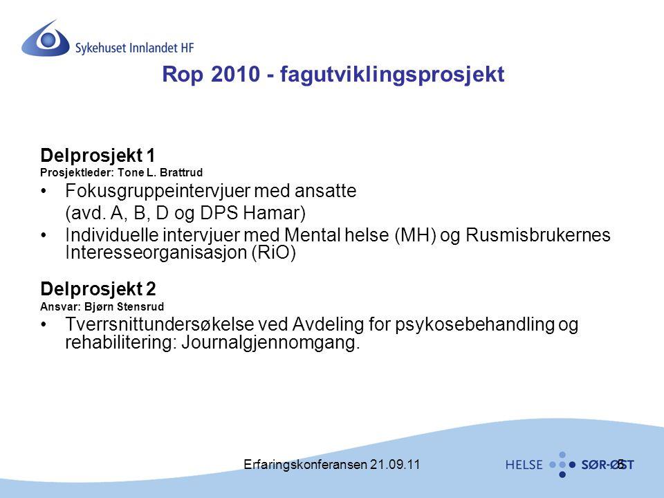 Erfaringskonferansen 21.09.116 Inkluderte i undersøkelsen: •Avdeling for akutt- og kortidspsykiatri (2 enheter) •Avdeling for psykose- og rehabilitering (1 enhet) •Avdeling for rusrelaterte lidelser og avhengighet (2 enheter) •DPS Hamar (3 enheter) •Mental Helse Hedmark (MH) •Rusmisbrukernes interesseorganisasjon Innlandet (RIO)