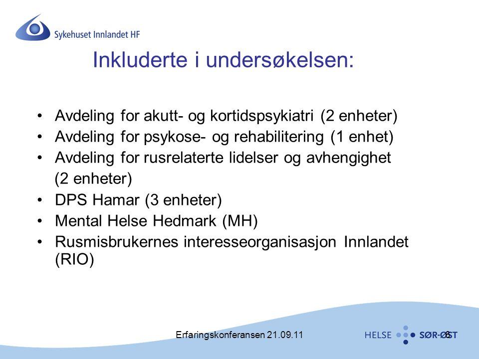 Erfaringskonferansen 21.09.116 Inkluderte i undersøkelsen: •Avdeling for akutt- og kortidspsykiatri (2 enheter) •Avdeling for psykose- og rehabiliteri