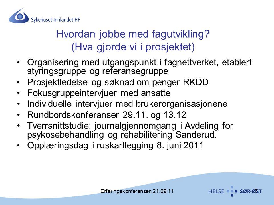 Erfaringskonferansen 21.09.117 Hvordan jobbe med fagutvikling? (Hva gjorde vi i prosjektet) •Organisering med utgangspunkt i fagnettverket, etablert s