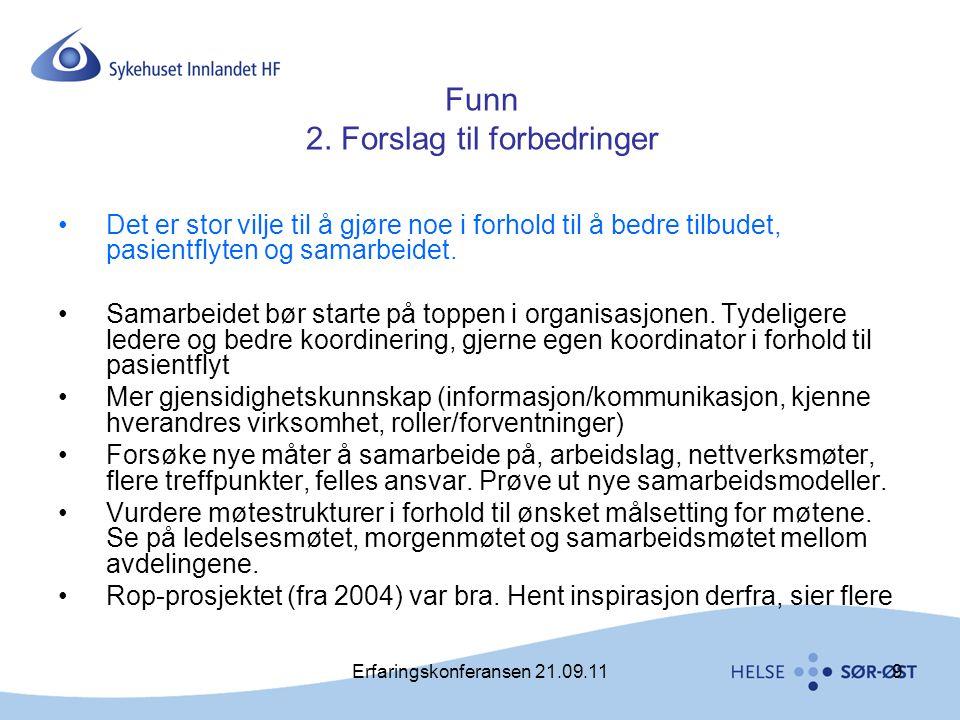 Erfaringskonferansen 21.09.119 Funn 2. Forslag til forbedringer •Det er stor vilje til å gjøre noe i forhold til å bedre tilbudet, pasientflyten og sa