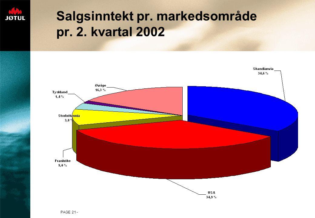 PAGE 21 - Salgsinntekt pr. markedsområde pr. 2. kvartal 2002