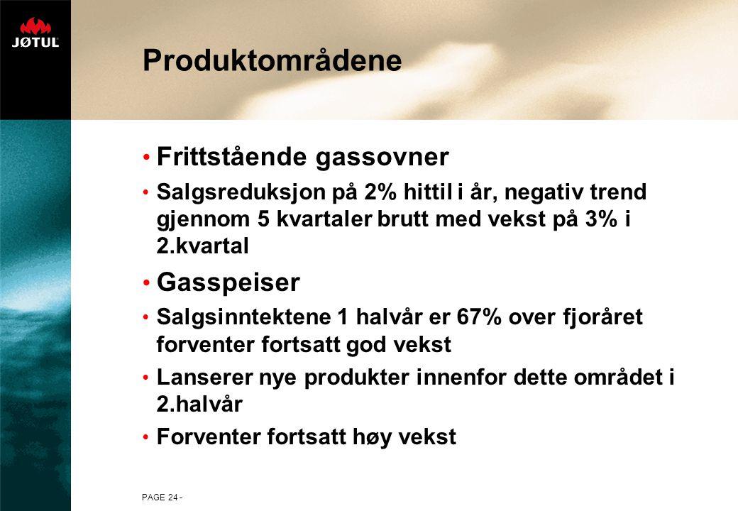 PAGE 24 - Produktområdene • Frittstående gassovner • Salgsreduksjon på 2% hittil i år, negativ trend gjennom 5 kvartaler brutt med vekst på 3% i 2.kvartal • Gasspeiser • Salgsinntektene 1 halvår er 67% over fjoråret forventer fortsatt god vekst • Lanserer nye produkter innenfor dette området i 2.halvår • Forventer fortsatt høy vekst