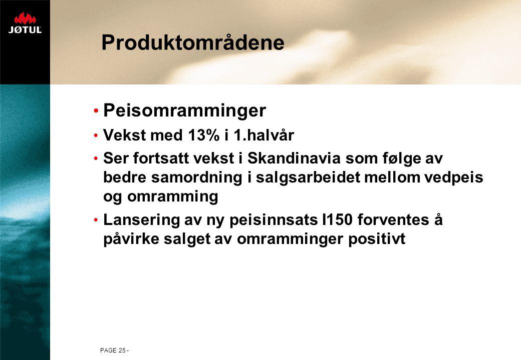 PAGE 25 - Produktområdene • Peisomramminger • Vekst med 13% i 1.halvår • Ser fortsatt vekst i Skandinavia som følge av bedre samordning i salgsarbeidet mellom vedpeis og omramming • Lansering av ny peisinnsats I150 forventes å påvirke salget av omramminger positivt