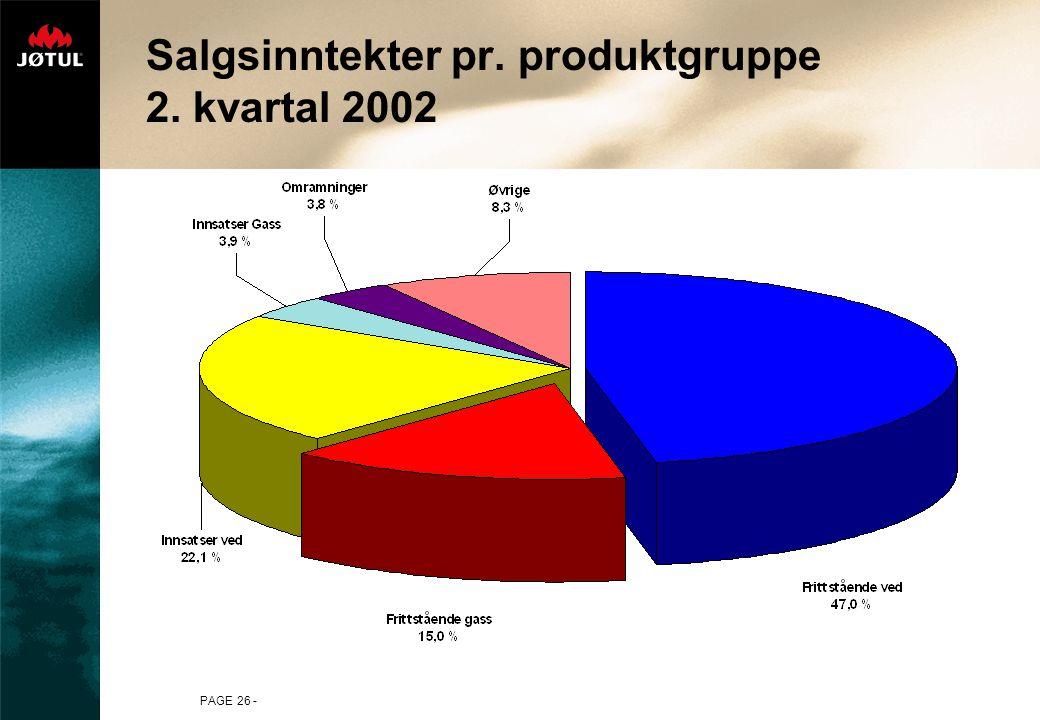 PAGE 26 - Salgsinntekter pr. produktgruppe 2. kvartal 2002