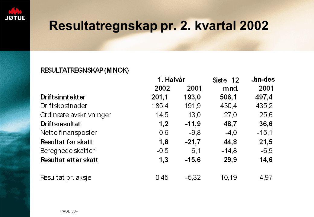 PAGE 30 - Resultatregnskap pr. 2. kvartal 2002