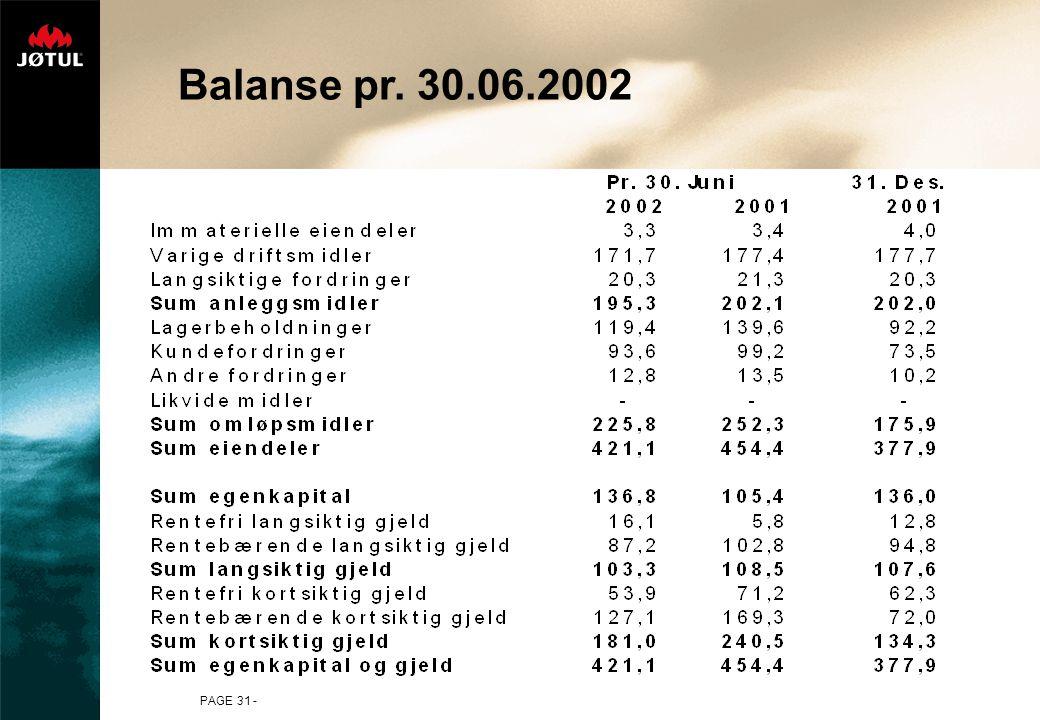 PAGE 31 - Balanse pr. 30.06.2002