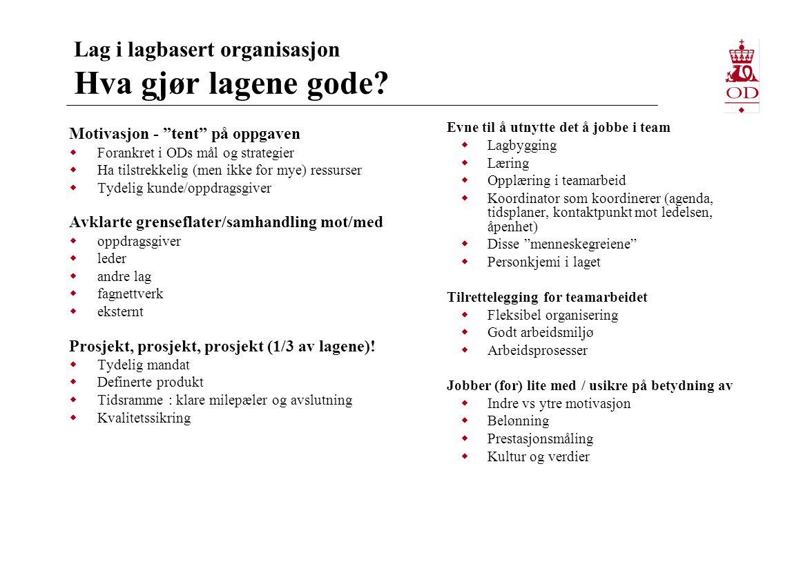 """Lag i lagbasert organisasjon Hva gjør lagene gode? Motivasjon - """"tent"""" på oppgaven  Forankret i ODs mål og strategier  Ha tilstrekkelig (men ikke fo"""