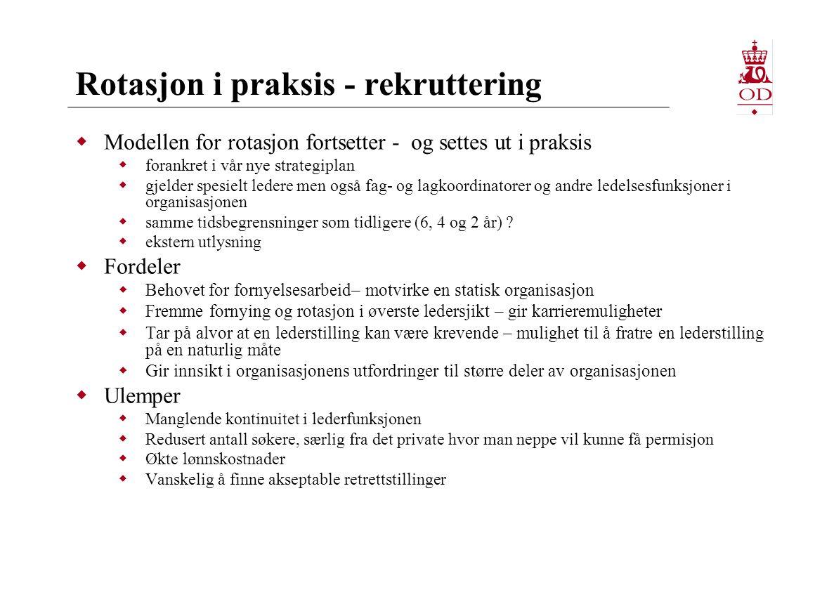 Rotasjon i praksis - rekruttering  Modellen for rotasjon fortsetter - og settes ut i praksis  forankret i vår nye strategiplan  gjelder spesielt le