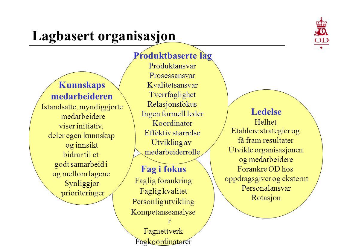 Lag i OD Ca 60 lag som  er organisert rundt ODs produkter  har mandat og ressurser (fra ledelsen)  har ansvar for produkt, kvalitet og prosess  opprettes og nedlegges  har koordinator (rotasjon) – rollen kan variere noe fra lag til lag  har en kontaktperson i ledelsen  utenom lag og fagnettverk finnes formelle og uformelle arbeidsfellesskap Prosjektlag (tverrfaglige) Eks.PUD*-lag Høy Lav Grad av team Nettverk Eks.