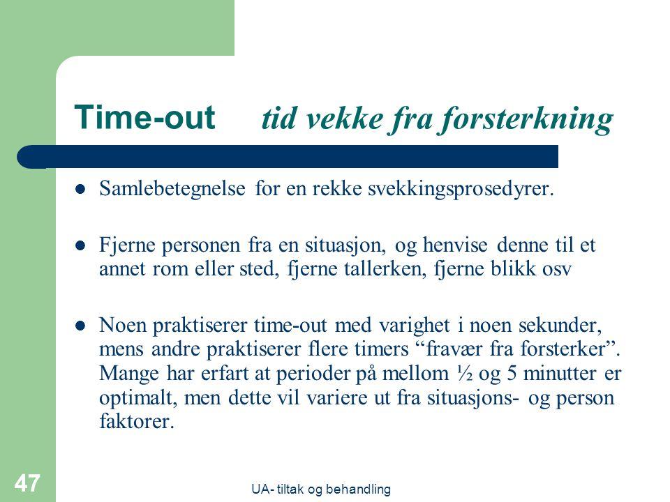 UA- tiltak og behandling 47 Time-out tid vekke fra forsterkning  Samlebetegnelse for en rekke svekkingsprosedyrer.