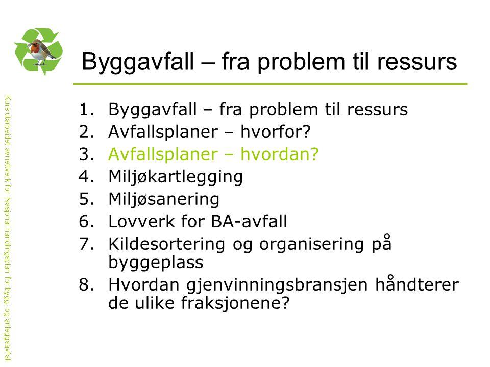 Kurs utarbeidet avnettverk for Nasjonal handlingsplan for bygg- og anleggsavfall Status for Oslo kommune 1.Over 80 % av BA-avfallet kildesorteres a.