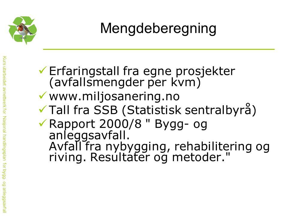 Mengdeberegning  Erfaringstall fra egne prosjekter (avfallsmengder per kvm)  www.miljosanering.no  Tall fra SSB (Statistisk sentralbyrå)  Rapport