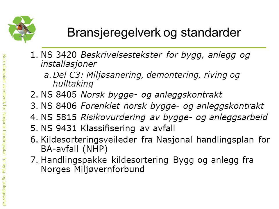 Kurs utarbeidet avnettverk for Nasjonal handlingsplan for bygg- og anleggsavfall Bransjeregelverk og standarder 1.NS 3420 Beskrivelsestekster for bygg