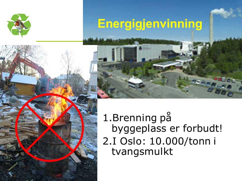Kurs utarbeidet avnettverk for Nasjonal handlingsplan for bygg- og anleggsavfall Energigjenvinning 1.Brenning på byggeplass er forbudt! 2.I Oslo: 10.0