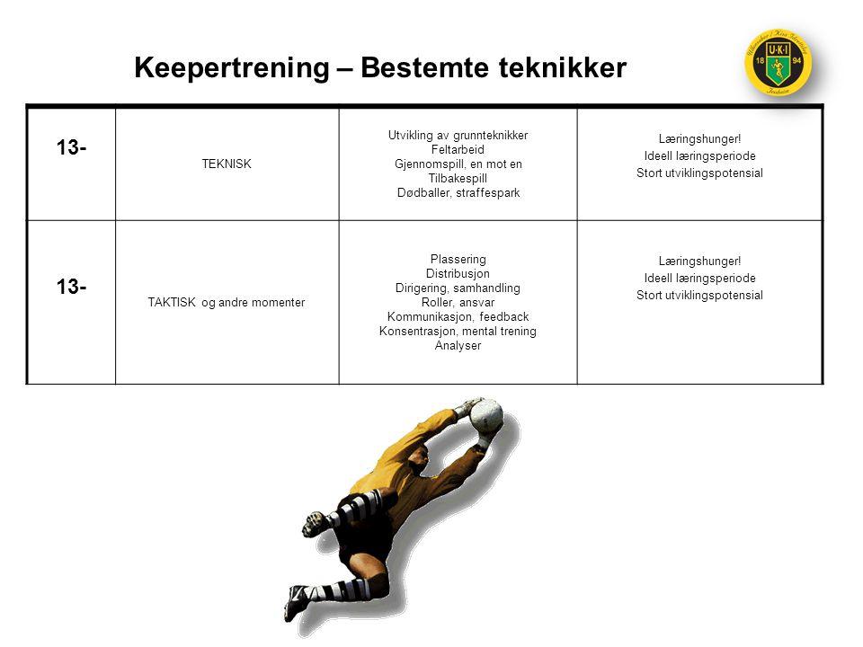 13- TEKNISK Utvikling av grunnteknikker Feltarbeid Gjennomspill, en mot en Tilbakespill Dødballer, straffespark Læringshunger! Ideell læringsperiode S