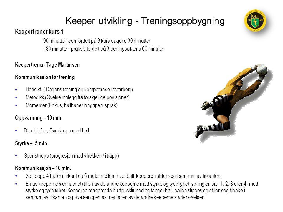 Keeper utvikling - Treningsoppbygning Keepertrener kurs 1 90 minutter teori fordelt på 3 kurs dager a 30 minutter 180 minutter praksis fordelt på 3 tr