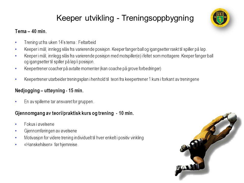 Tema – 40 min. •Trening ut fra uken 14's tema : Feltarbeid •Keeper i mål, innlegg slås fra varierende posisjon. Keeper fanger ball og igangsetter rask