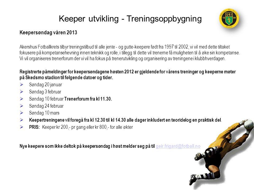 Keepersøndag våren 2013 Akershus Fotballkrets tilbyr treningstilbud til alle jente - og gutte-keepere født fra 1997 til 2002, vi vil med dette tiltake