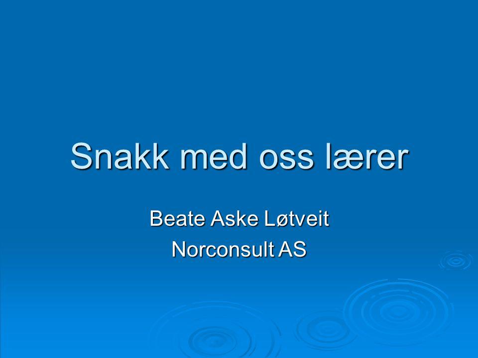 Snakk med oss lærer Beate Aske Løtveit Norconsult AS