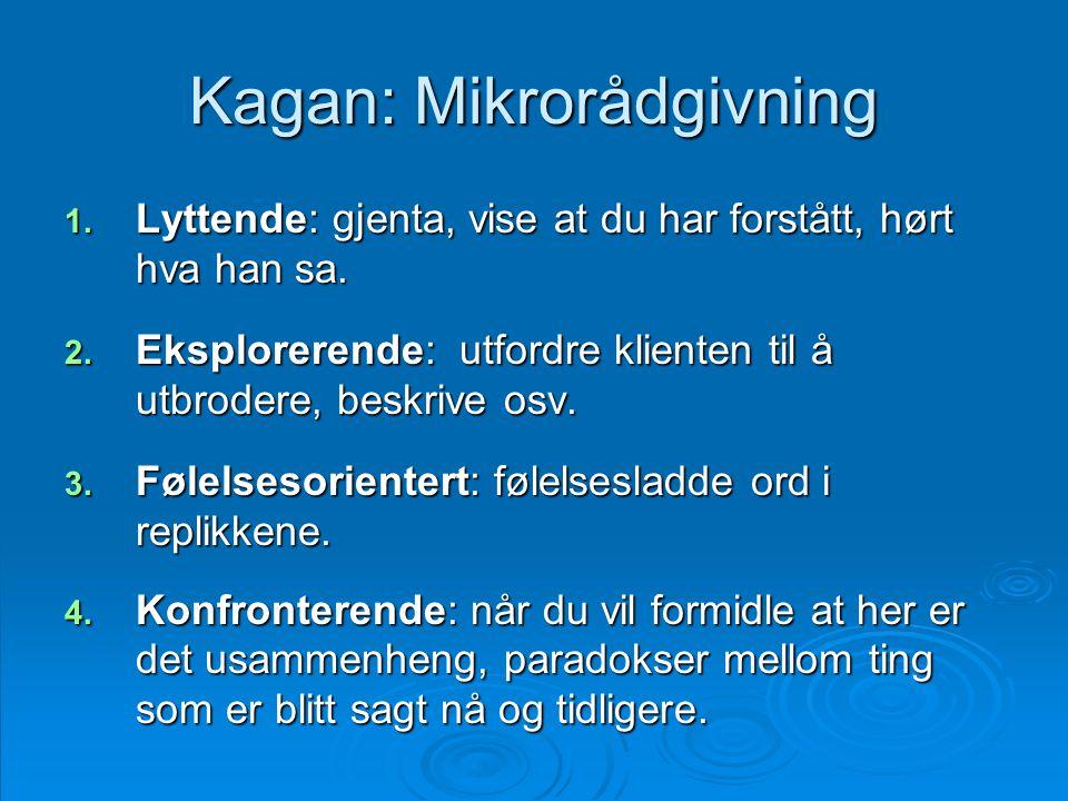 Kagan: Mikrorådgivning 1. Lyttende: gjenta, vise at du har forstått, hørt hva han sa. 2. Eksplorerende: utfordre klienten til å utbrodere, beskrive os