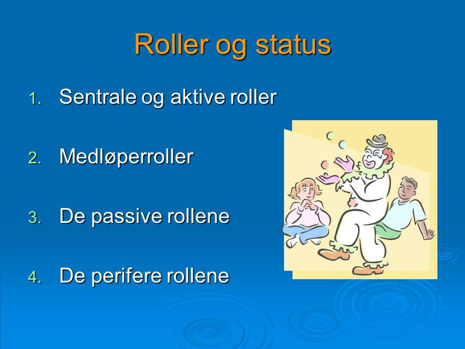 Roller og status 1. Sentrale og aktive roller 2. Medløperroller 3. De passive rollene 4. De perifere rollene