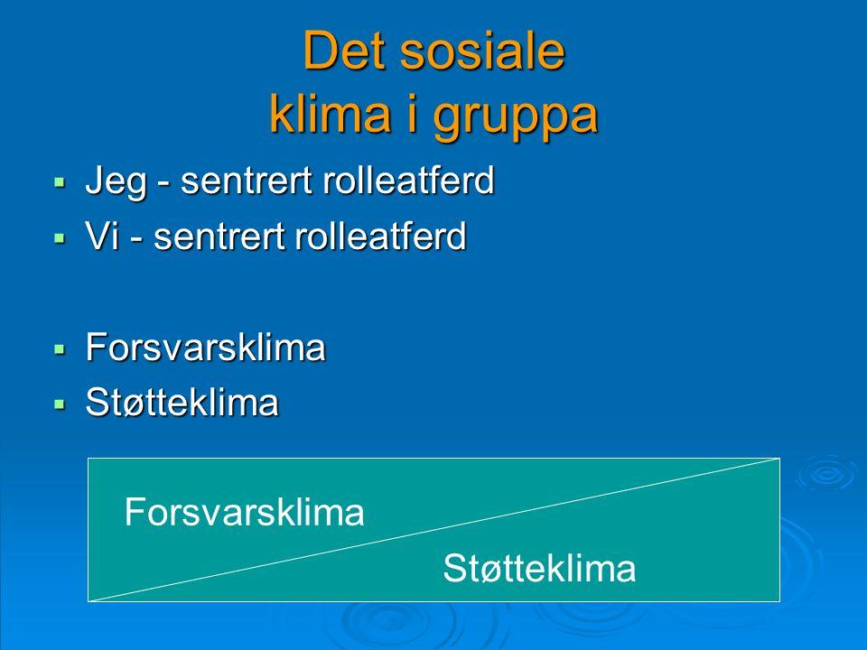 Det sosiale klima i gruppa  Jeg - sentrert rolleatferd  Vi - sentrert rolleatferd  Forsvarsklima  Støtteklima Forsvarsklima Støtteklima