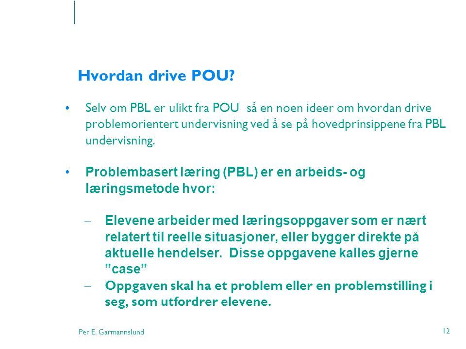Per E. Garmannslund 12 Hvordan drive POU? •Selv om PBL er ulikt fra POU så en noen ideer om hvordan drive problemorientert undervisning ved å se på ho