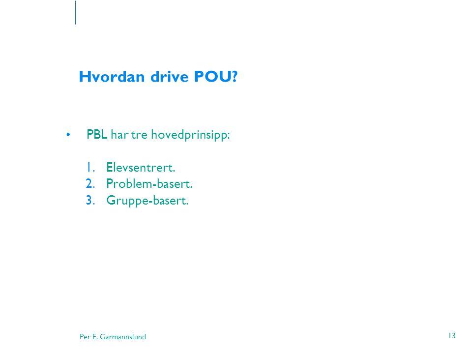 Per E. Garmannslund 13 Hvordan drive POU? •PBL har tre hovedprinsipp: 1.Elevsentrert. 2.Problem-basert. 3.Gruppe-basert.