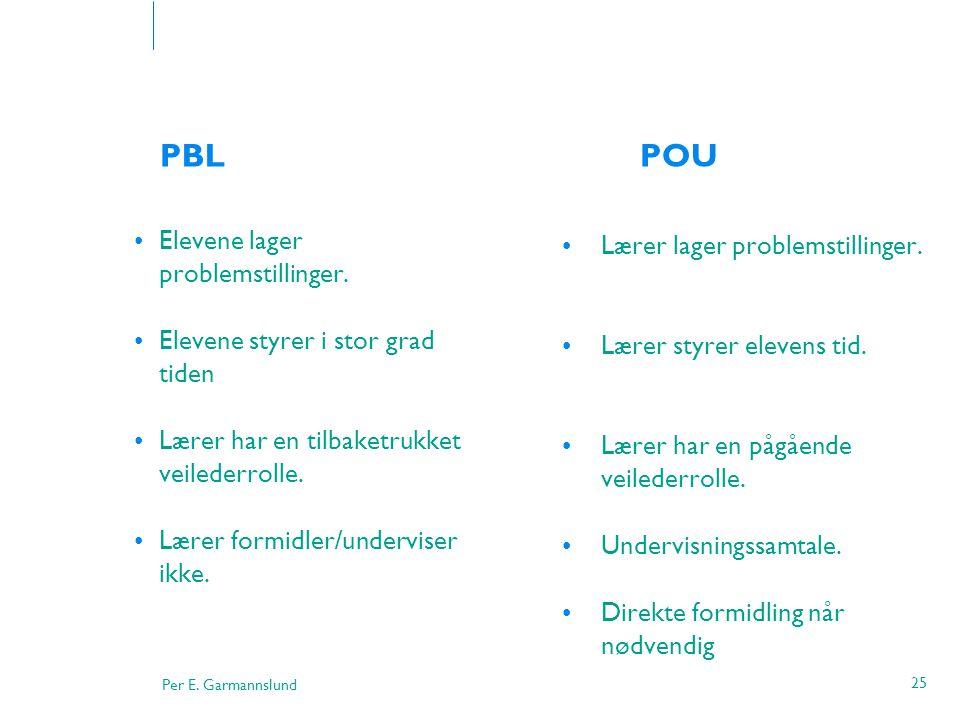 Per E. Garmannslund 25 PBL POU •Elevene lager problemstillinger. •Elevene styrer i stor grad tiden •Lærer har en tilbaketrukket veilederrolle. •Lærer