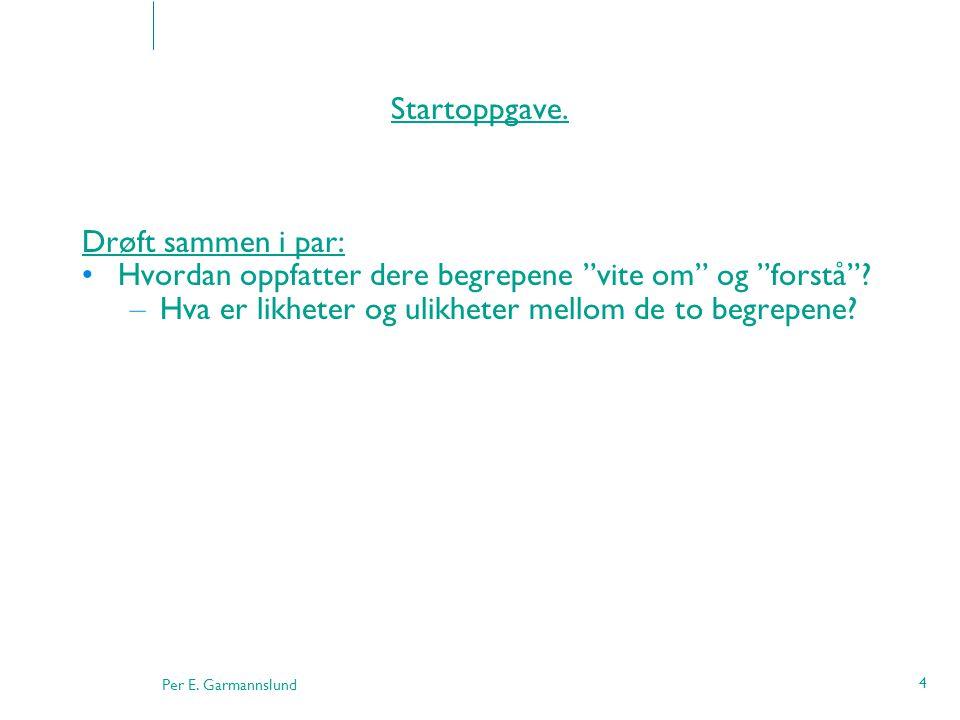 Per E. Garmannslund 45 Pedagogisk stillasbygging - spørsmål Kilde: Læring og næring, s. 43