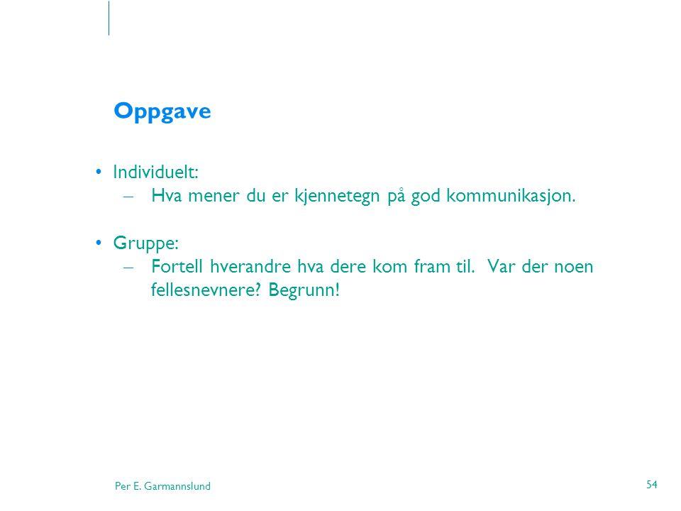 Per E. Garmannslund 54 Oppgave •Individuelt: – Hva mener du er kjennetegn på god kommunikasjon. •Gruppe: – Fortell hverandre hva dere kom fram til. Va
