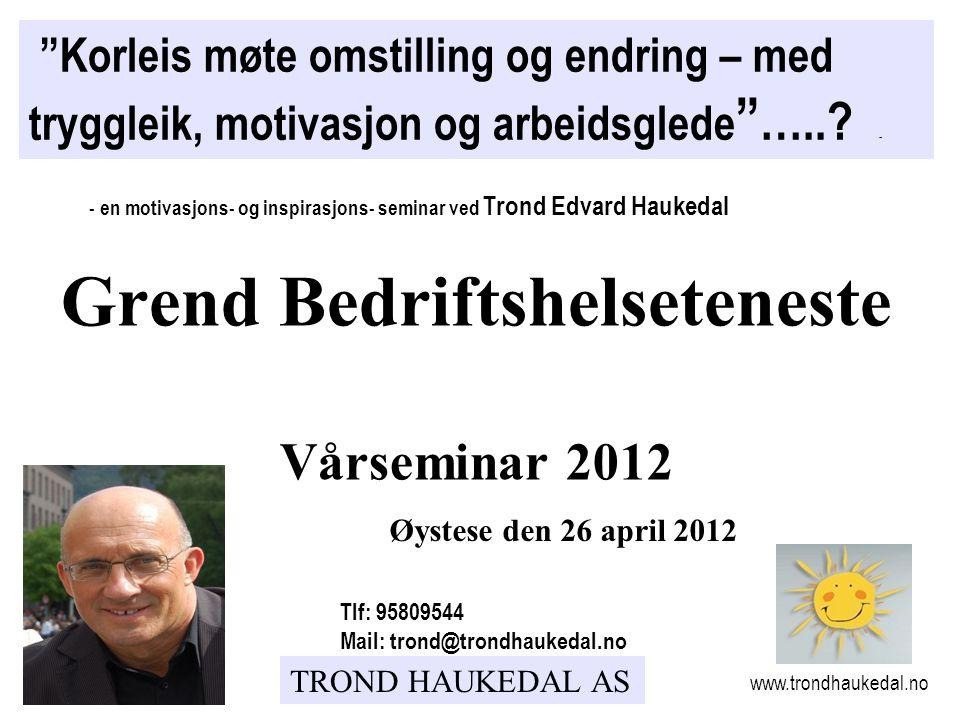 """TROND HAUKEDAL AS Øystese den 26 april 2012 """"Korleis møte omstilling og endring – med tryggleik, motivasjon og arbeidsglede """" …..? - - en motivasjons-"""