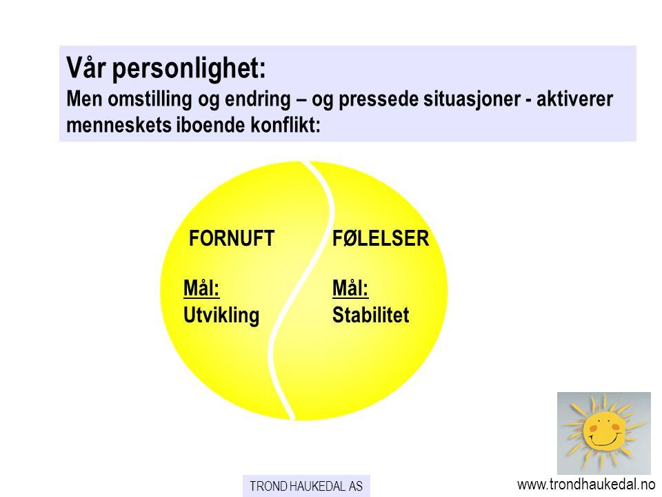 TROND HAUKEDAL AS www.trondhaukedal.no FORNUFTFØLELSER Mål: Utvikling Mål: Stabilitet Vår personlighet: Men omstilling og endring – og pressede situas