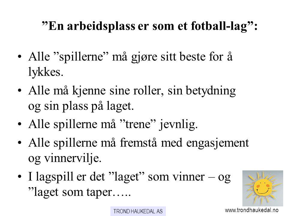 """www.trondhaukedal.no """"En arbeidsplass er som et fotball-lag"""": •Alle """"spillerne"""" må gjøre sitt beste for å lykkes. •Alle må kjenne sine roller, sin bet"""