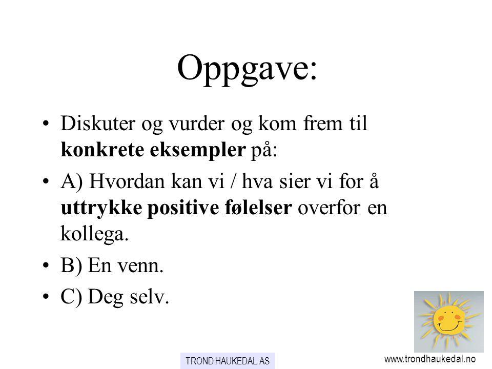 Oppgave: www.trondhaukedal.no TROND HAUKEDAL AS •Diskuter og vurder og kom frem til konkrete eksempler på: •A) Hvordan kan vi / hva sier vi for å uttr