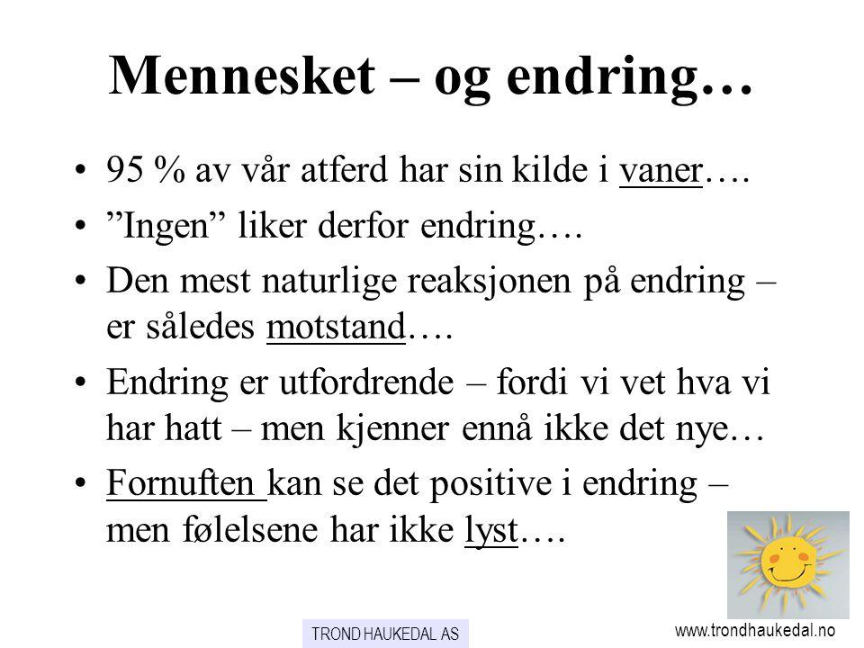 """Mennesket – og endring… www.trondhaukedal.no •95 % av vår atferd har sin kilde i vaner…. •""""Ingen"""" liker derfor endring…. •Den mest naturlige reaksjone"""