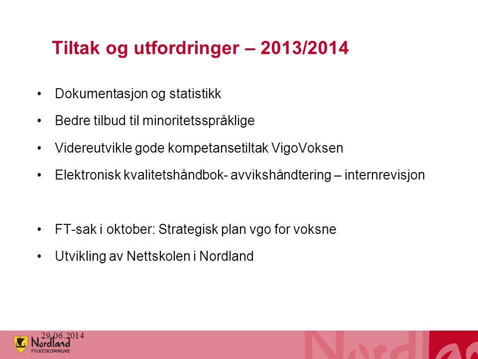 Tiltak og utfordringer – 2013/2014 •Dokumentasjon og statistikk •Bedre tilbud til minoritetsspråklige •Videreutvikle gode kompetansetiltak VigoVoksen