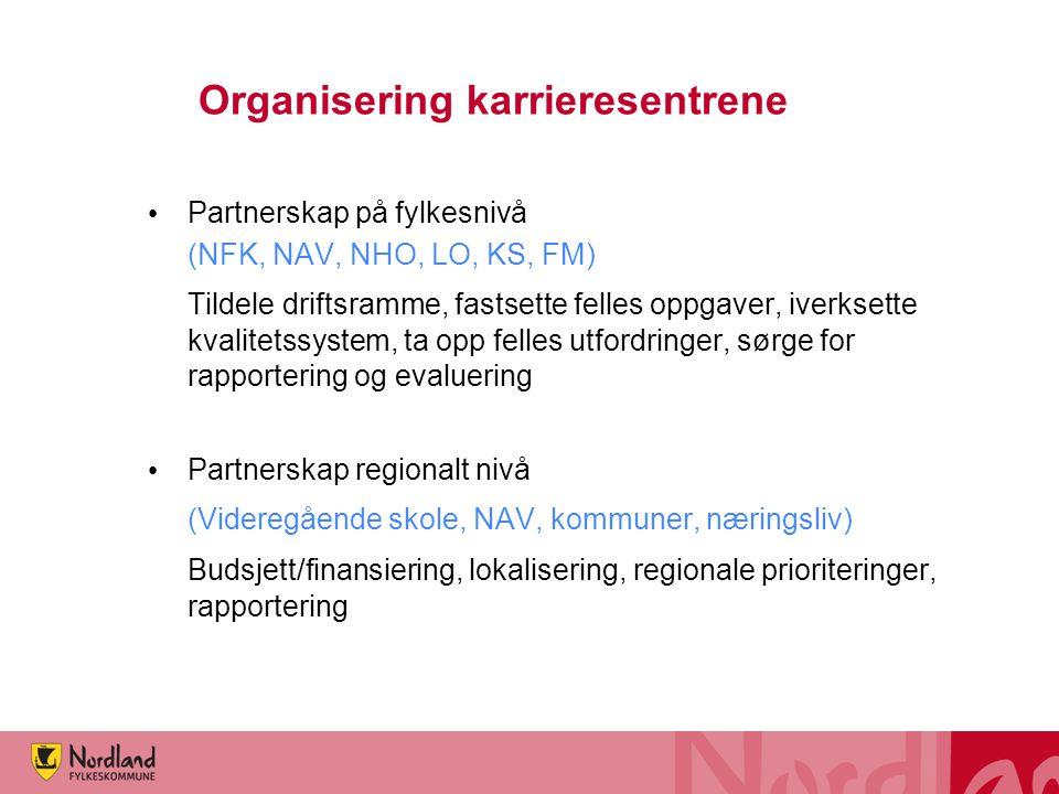 Organisering karrieresentrene • Partnerskap på fylkesnivå (NFK, NAV, NHO, LO, KS, FM) Tildele driftsramme, fastsette felles oppgaver, iverksette kvali