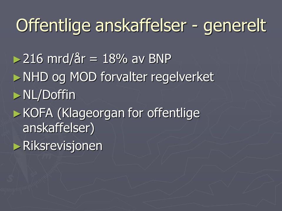 Offentlige anskaffelser Rammebetingelser ► Lov om offentlig anskaffelser (LOA) m/forskrift (FOA)  Veileder : http://odin.dep.no/nhd/norsk/samarbeid/europeisk/veiledninger/ 024081-120012/ind-bu.html http://odin.dep.no/nhd/norsk/samarbeid/europeisk/veiledninger/ 024081-120012/ind-bu.html http://odin.dep.no/nhd/norsk/samarbeid/europeisk/veiledninger/ 024081-120012/ind-bu.html  Ny forskrift fra 1 januar 2007 ► Økonomiinstruksen 27/4-06, pkt 1.4.2  Styret skal fastsette innkjøpsreglement og strategidokument for innkjøpsvirksomheten.  Høgskolen skal arbeide for å ta i bruk et elektronisk anskaffelsesstøttesystem. ► www.hibu.no/innkjøp : innkjøpsfolder, kunngjøringer, anskaffelsesprotokoll, gjeldende avtaler www.hibu.no/innkjøp