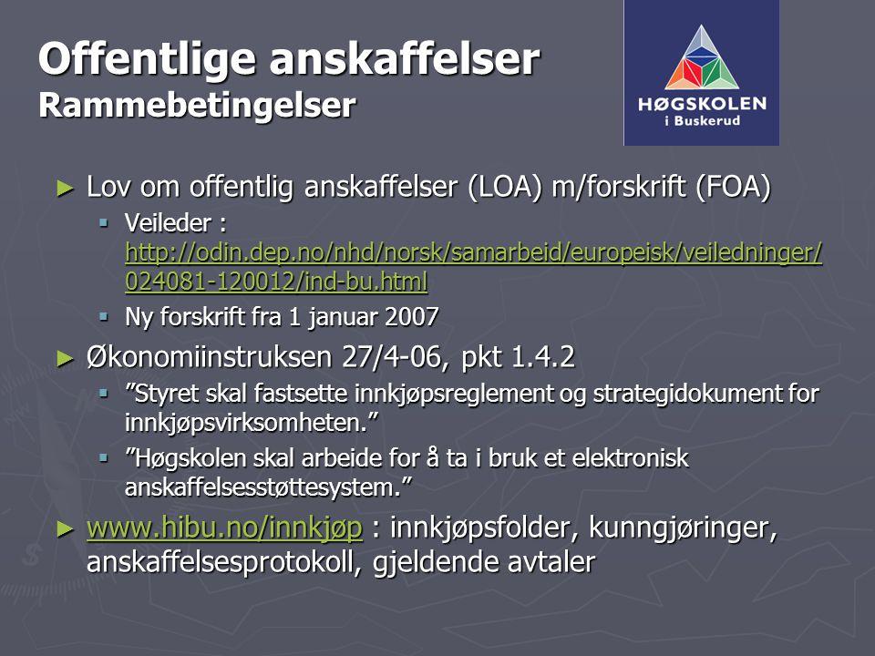 Offentlige anskaffelser Rammebetingelser ► Lov om offentlig anskaffelser (LOA) m/forskrift (FOA)  Veileder : http://odin.dep.no/nhd/norsk/samarbeid/e