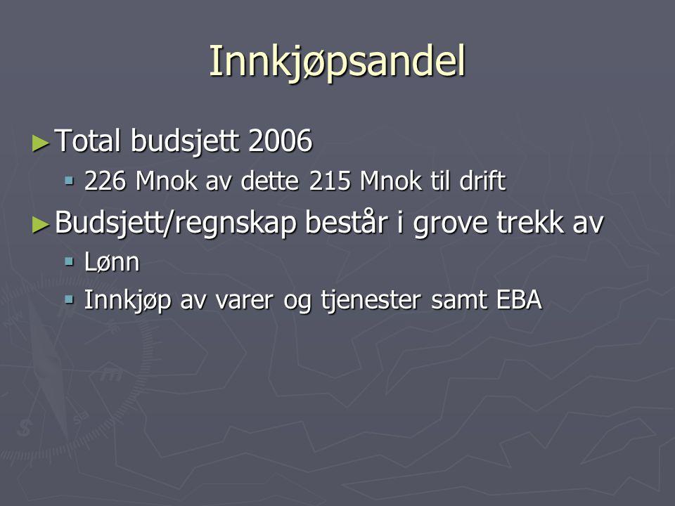 Budsjett 2006 ► Investeringer2,1 Mnok (ikke EBA) ► Lønn ca.